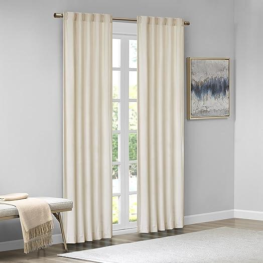 510 DESIGN Colt Darkening Poly Velvet Rod Pocket Back Tab Window Treatment Curtain Set Panel Pair Drapes for Bedroom Living Room and Dorm, 84 , Ivory