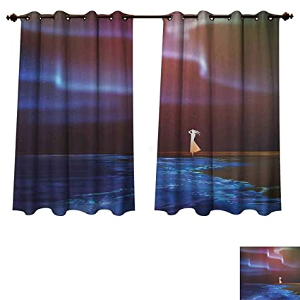 RuppertTextile Fantasy Bedroom Thermal Blackout Curtains Woman On Beach  Psychedelic Design Aurora Borealis Sky Star Nature