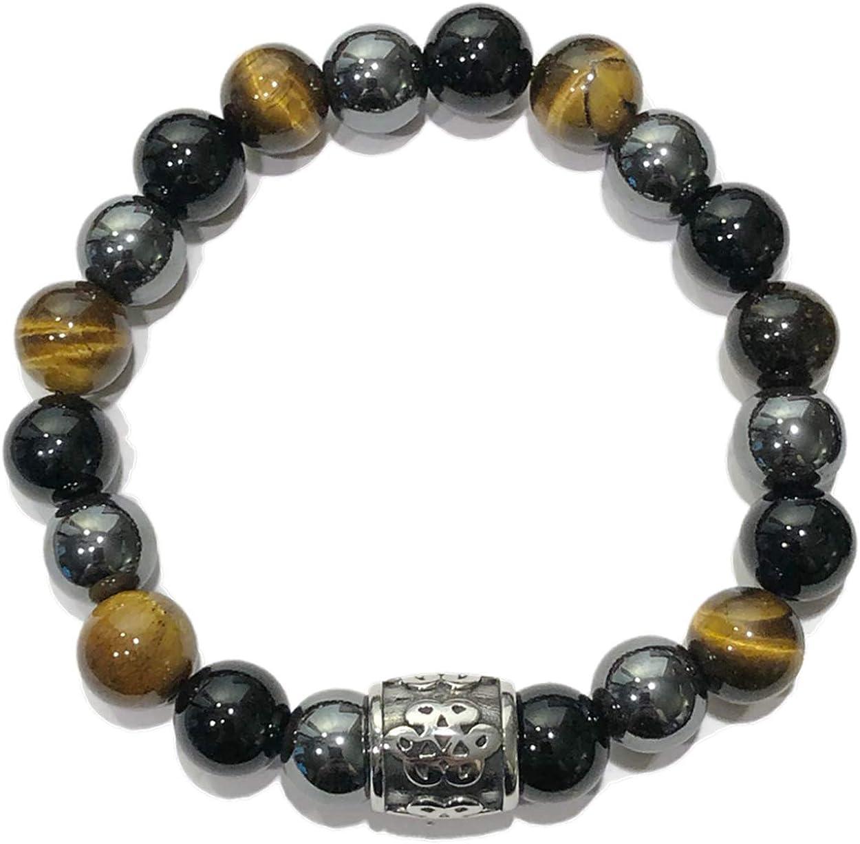 KarmaArm Buddhist | Feng Shui Endless Infinity Knot Bracelet | Happy Life | Meditation Self-Care Wellness Wristband Yoga Mala Jewelry | Black Onyx | Tiger Eye | Hematite