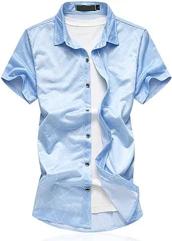 Cloudstyle Men's Cotton slim Fit Thin Short Sleeves Shirt Blue