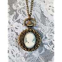Ladies Blue Cameo Pocket Watch on Long Chain Antique Look *Reproduction*