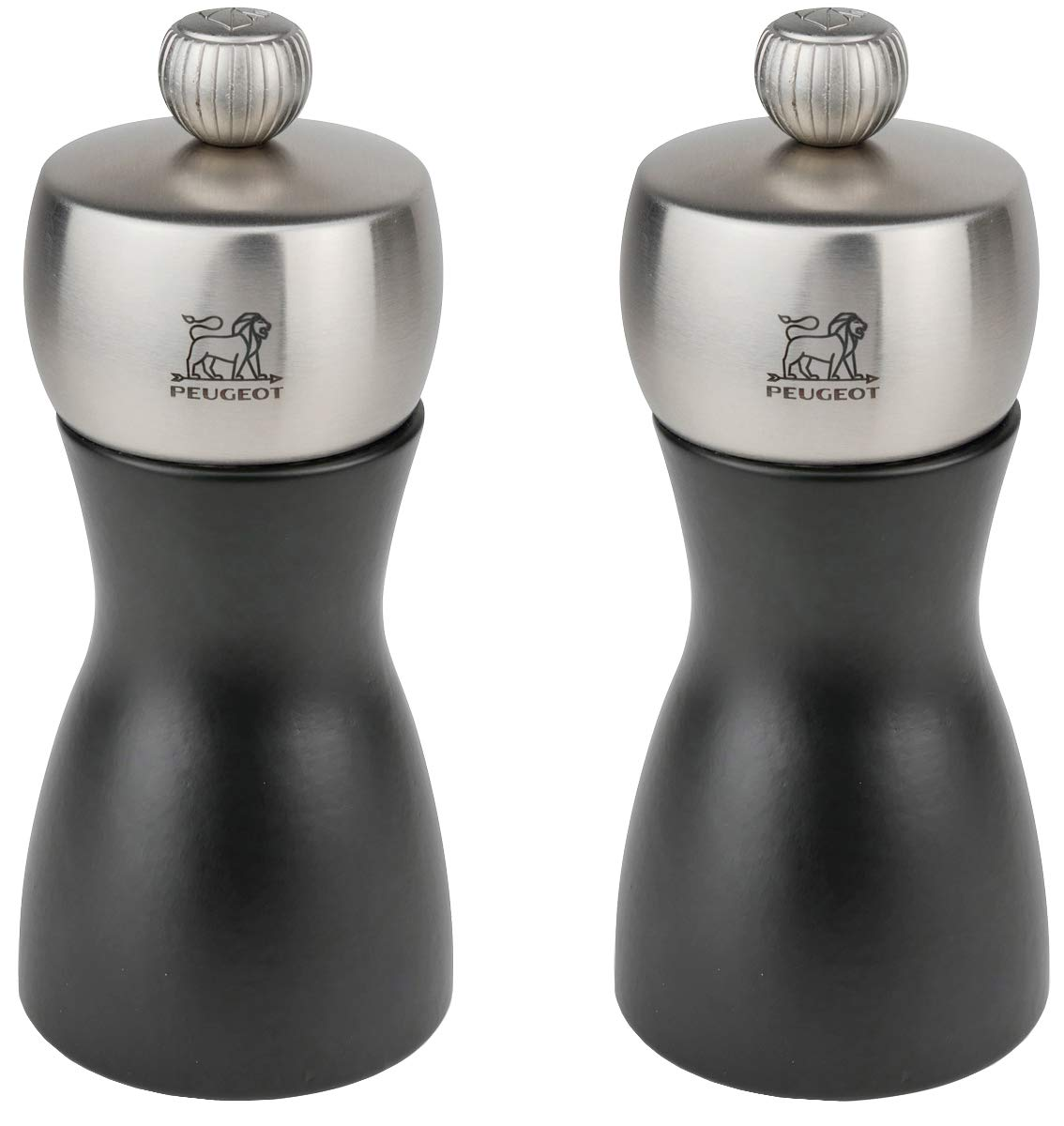 Peugeot Fidji Stainless Steel Salt and Pepper Mill Set, 12cm/4 3/4-Inch, Black Matte by Peugeot