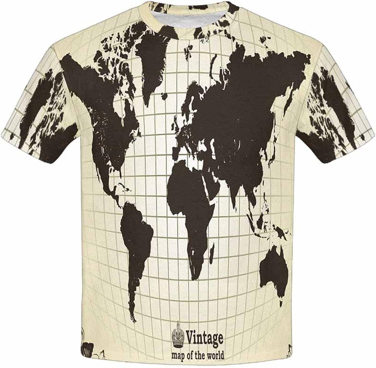 XS-XL INTERESTPRINT Kids T-Shirts High Detail World Map