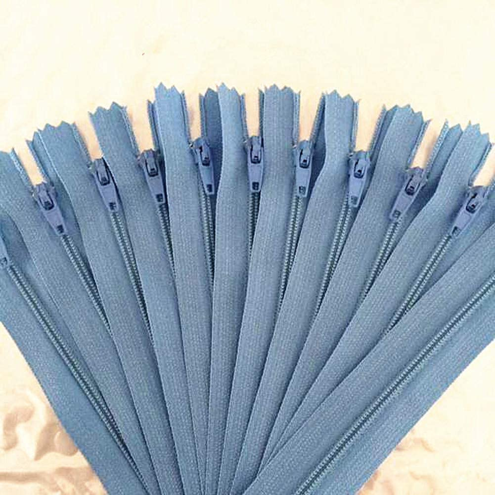 YTJY 10pcs 3# 12-24 Inch Nark Blue, 12inch Nylon Coil Zippers for Sewing Crafts Tailor Nylon Zippers Bulk 20 Colors 30-60cm