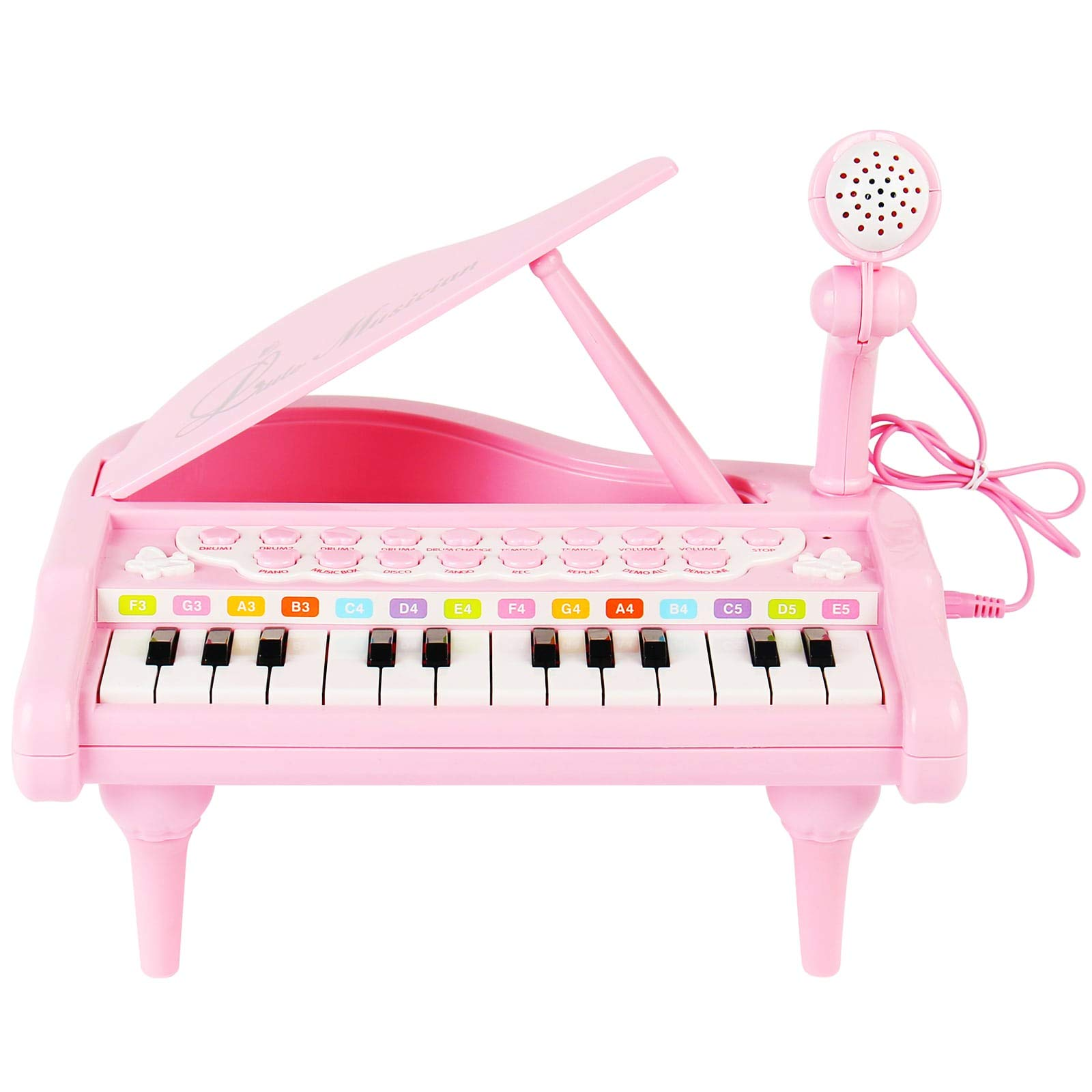 Conomus Piano Keyboard Toy for Kids,1 2 3 4 Year Old Girls First Birthday Gift , 24 Keys Multifunctional Musical Electronic Toy Piano for Toddlers