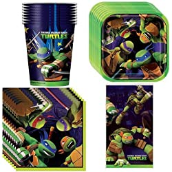 Teenage Mutant Ninja Turtles Party Supplies Pack Including Plates, Cups, Napkins and Tablecover - 8 Guests