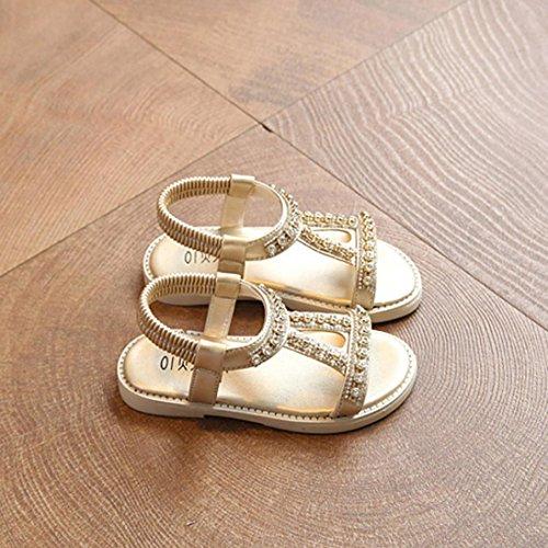 Prevently Baby Mädchen Sandalen Kinder Strass Sandalen Roman Schuhe Prinzessin Schuhe Strand Schuhe Kristall Strandsandalen Gold