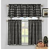 Black and White 3 Piece Gingham Check Kitchen Window Curtain Set: Plaid, Cotton Rich, 1 Valance, 2 Tier Panels (Matching 3 Piece Window Curtain Set)