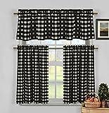 Duck River Textiles KINGSTON 4147D=12 3 Piece Checks Kitchen Curtain Set, Black For Sale