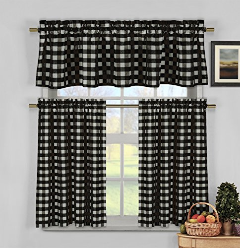 Black and White 3 Piece Gingham Check Kitchen Window Curtain Set: Plaid, Cotton Rich, 1 Valance, 2 Tier Panels (Matching 3 Piece Window Curtain Set)