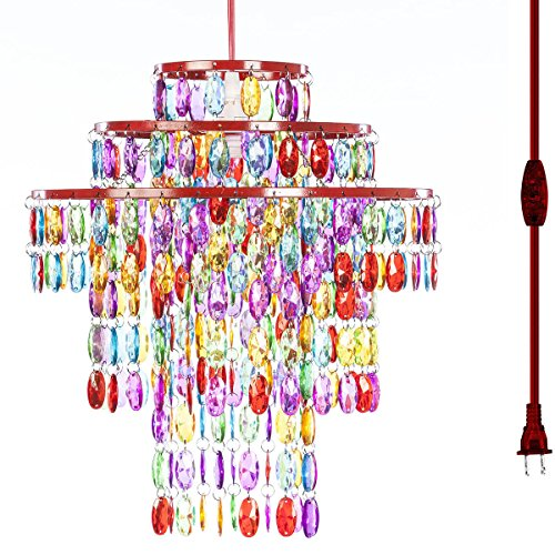 Art Deco Chandelier - The Original Gypsy Color One Light Plugin Chandelier with Three Tiers of Hanging Crystals H14 W13, Red Metal Frame with Multicolor Acrylic Crystals