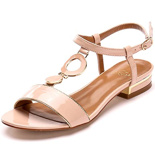 7f98061b0a03 Alexis Leroy 2015 Summer Womens  Classic Buckle Design Fashion Flat Sandals  Pink 37 M EU