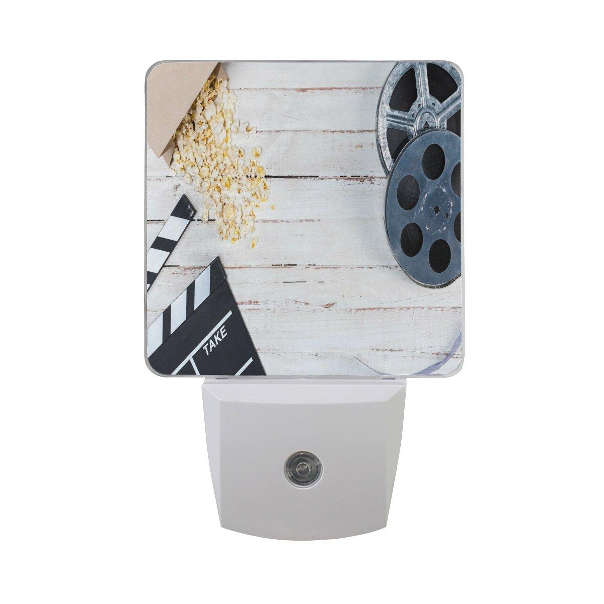 ALAZA Film Movie Clapper Wheel Wooden LED Night Light Dusk to Dawn Sensor Plug in Night Home Decor Desk Lamp for Adult