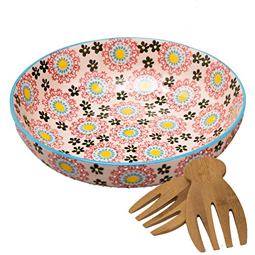 Large Stoneware Salad Serving Bowl, 78oz/11inch Embossed Multicolor Mexican Floral Design, with 2 Bamboo Salad Hands ()