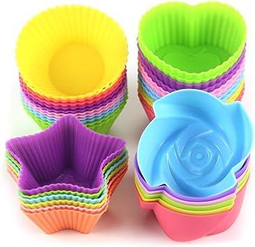 kisspet 24-pcs Moules à cupcake en silicone moule à muffin gâteau Pain Caes épouse, réutilisable et résistant à la chaleur de cuisson tasses d'Sacs de cuisson à cupcakes cas, assortiment de couleurs