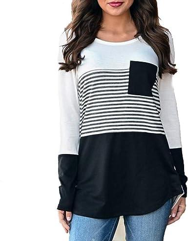 Camisetas para Mujer Manga Largas Otoño Casual Tallas Grandes 2019 PAOLIAN Camisetas Mujer Basicas Vestir Estampados Rayas Blusas Fiesta Mujer Elegante: Amazon.es: Ropa y accesorios