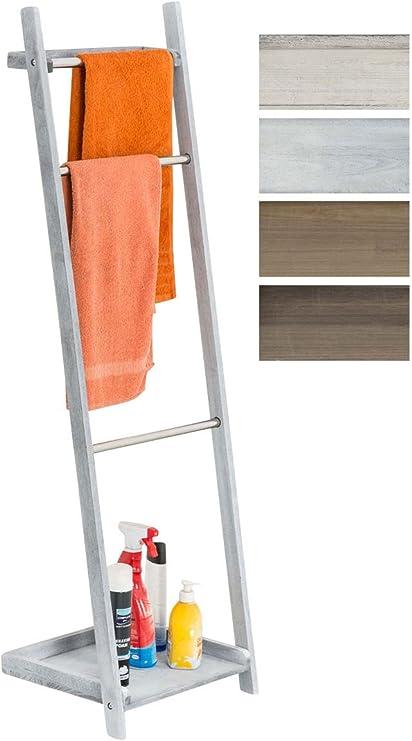 Toallero De Pie Kyoto I Toallero De Baño con 3 Barras de Metal & Estructura De Madera I Toallero En Estilo Rústico I Color:, Color:Gris: Amazon.es: Hogar