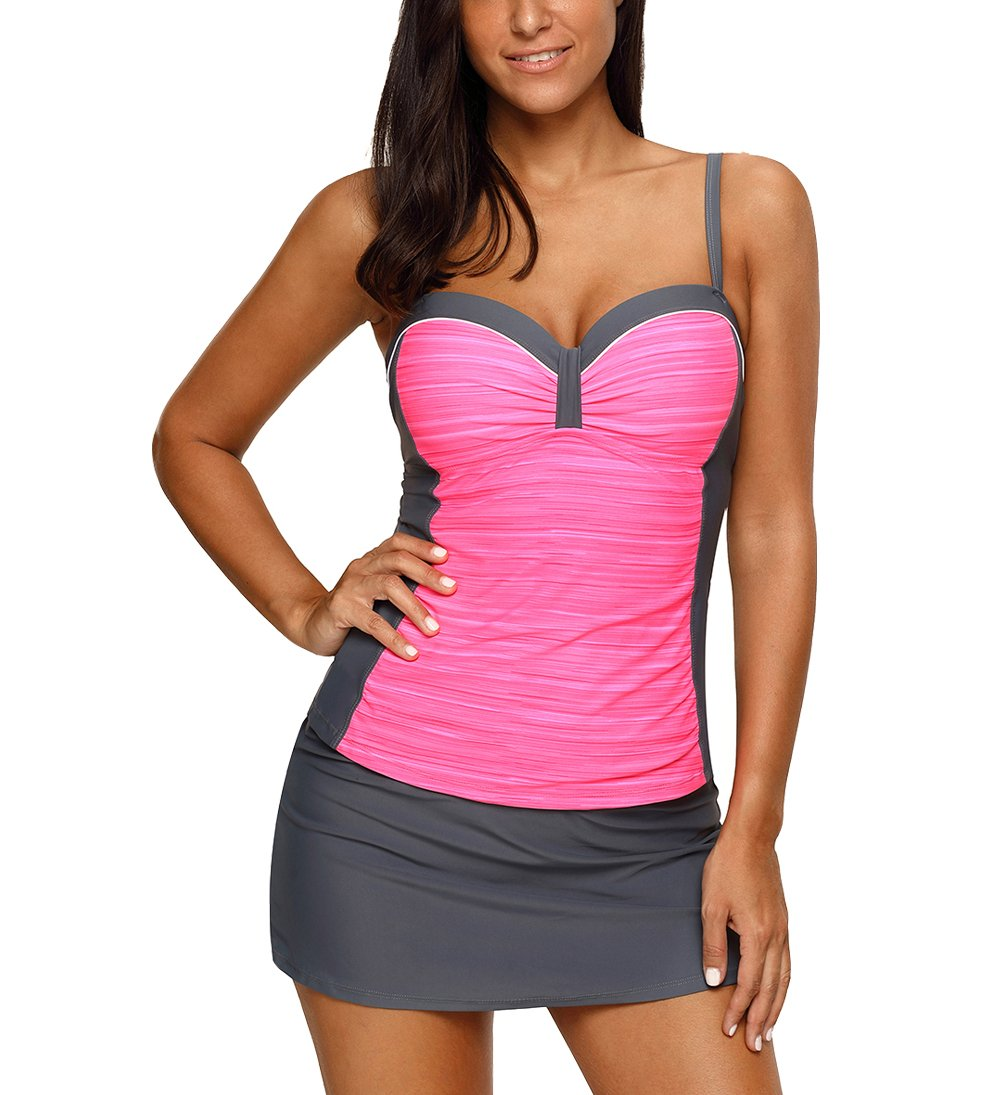 ae909424ec58e Eternatastic Women Color Block Tankini Swimsuit Costume Sweatheart Neck  Swimwear with Skirt XXXL Rose