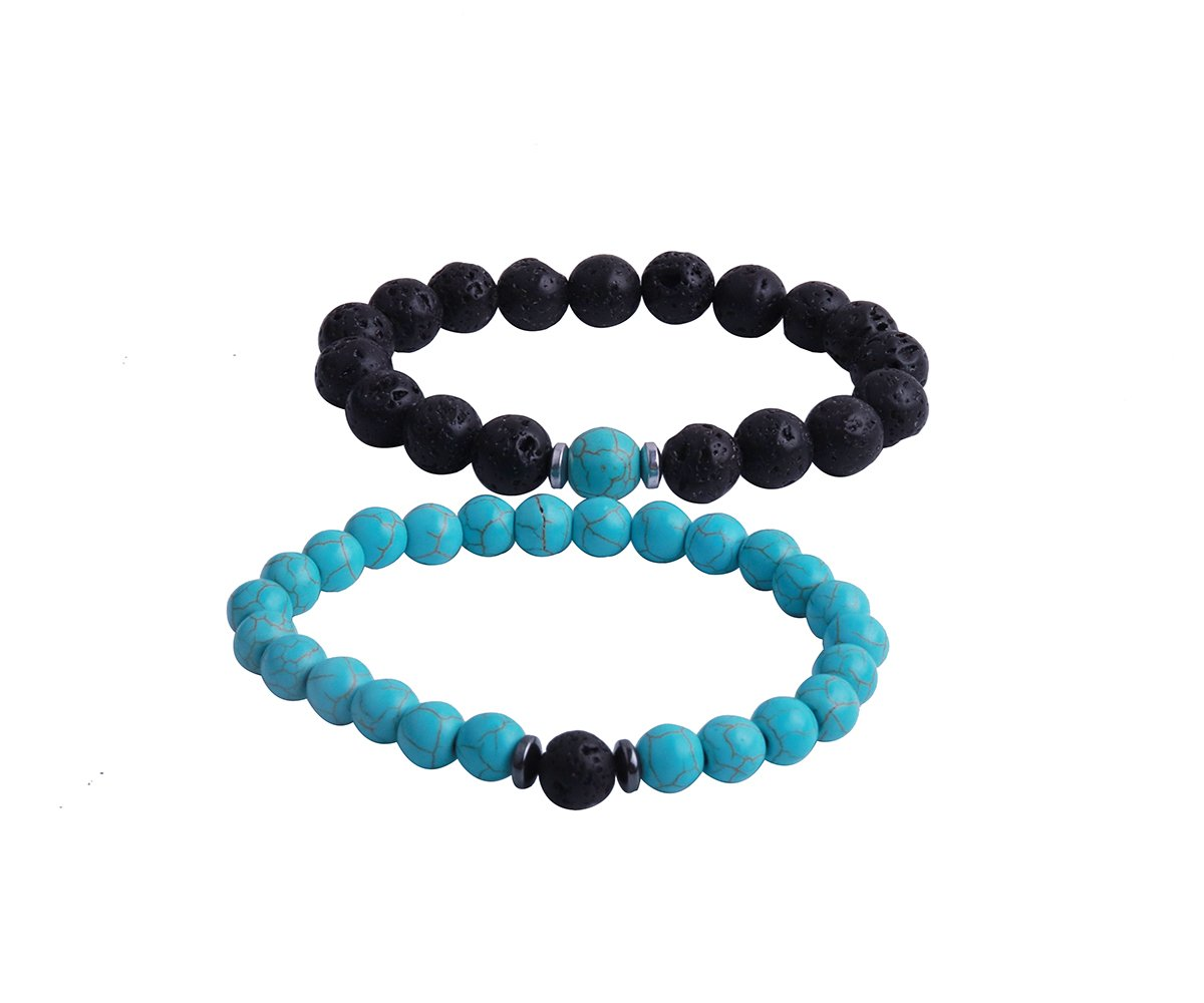 RUNXINTD Couples His and Hers Bracelets Long Distance Couples Bracelet Turquoise Amethyst Bead Healing Stone Bracelets Gifts for Lovers (Black Lava Rock&Turquoise)
