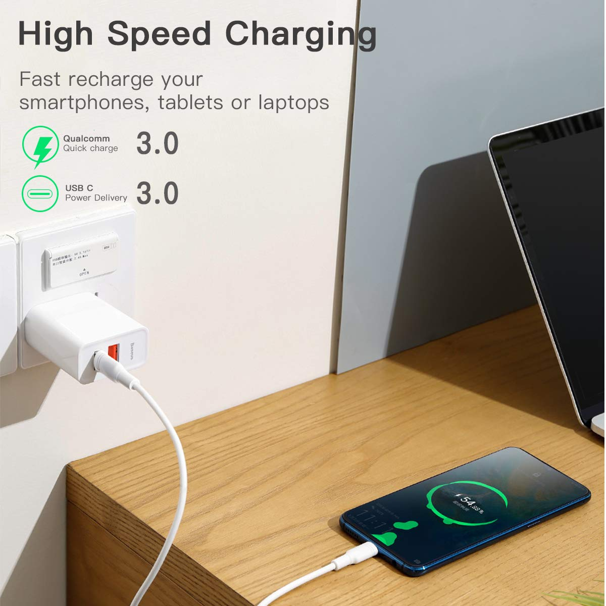 USB C Wall Charger with USB C Cable 3.3FT, Baseus 30W Quick Charger with PD3.0 and QC3.0,Dual USB Charger for iPhone 11/11 Pro/11 Pro ...