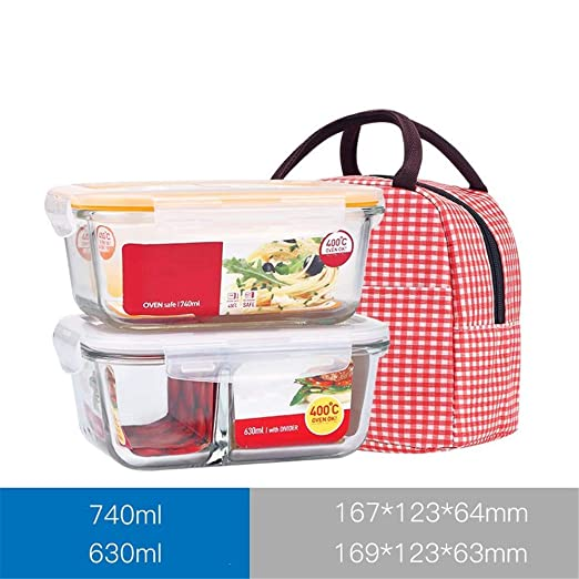 KISlink Caja de Almuerzo de Vidrio Resistente al Calor separada ...