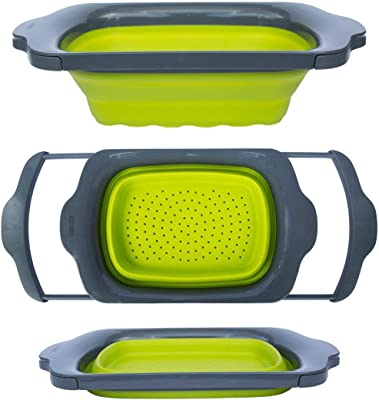 Comfify CM201523 Collapsible-Green & Grey-Over The Sink Colander