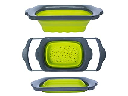 Charmant Colander Collapsible   Green U0026 Grey   Over The Sink Colander With Handles    Folding Strainer
