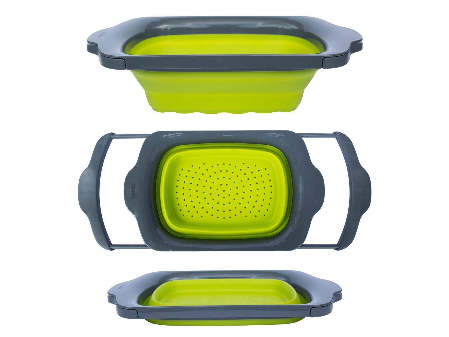 Colander Collapsible - Green & Grey - Over the Sink Colander with Handles - Folding Strainer for Kitchen 6-quart Capacity - By Comfify