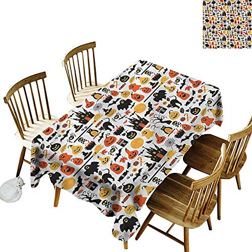 (one1love Anti-Fading Tablecloths Halloween Candies Owls and Castles Table Cover for Dining 60