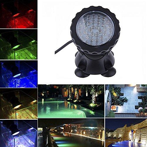 - Ikakon Submersible Spotlight 36 LED Underwater Aquarium Ponds Light Fish Tank Gardens Pond Lamp Multi-color (1 light)