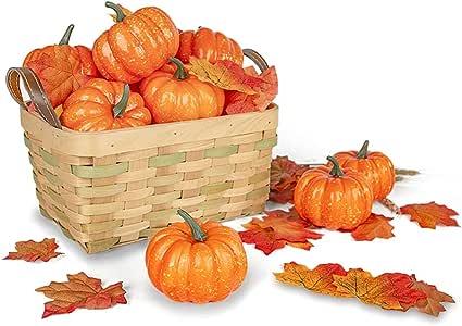 DomeStar Artificial Pumpkins for Decoration, 12PCS Mini Fake Pumpkins with 30PCS Lifelike Maple Leaves Faux Pumpkins Artificial Vegetables for Fall Garland Halloween Thanksgiving Decorations