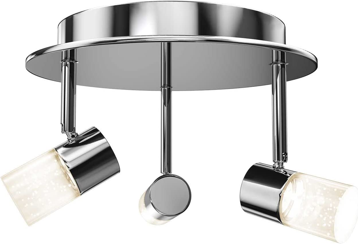 Artika Cl36w Hd1 Essence Flare Rd Multi Directional Flushmount Ceiling Light Fixture 3x6w With Integrated Led Chrome Plated Finish