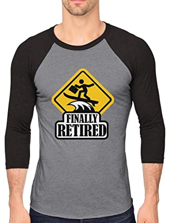 Finally Retired - Funny Retirement Gift 3 4 Sleeve Baseball Jersey Shirt  Small black  de4197905