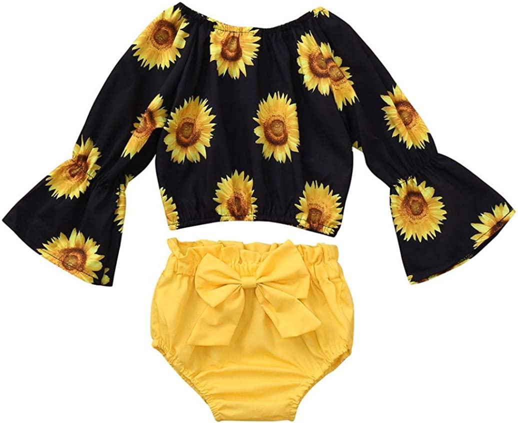 Baby Girl Outfits,Fineser 2PCS Cute Toddler Baby Girls Long Sleeved Sunflower Print Top Clothes+Bowknot Shorts Set Outfit
