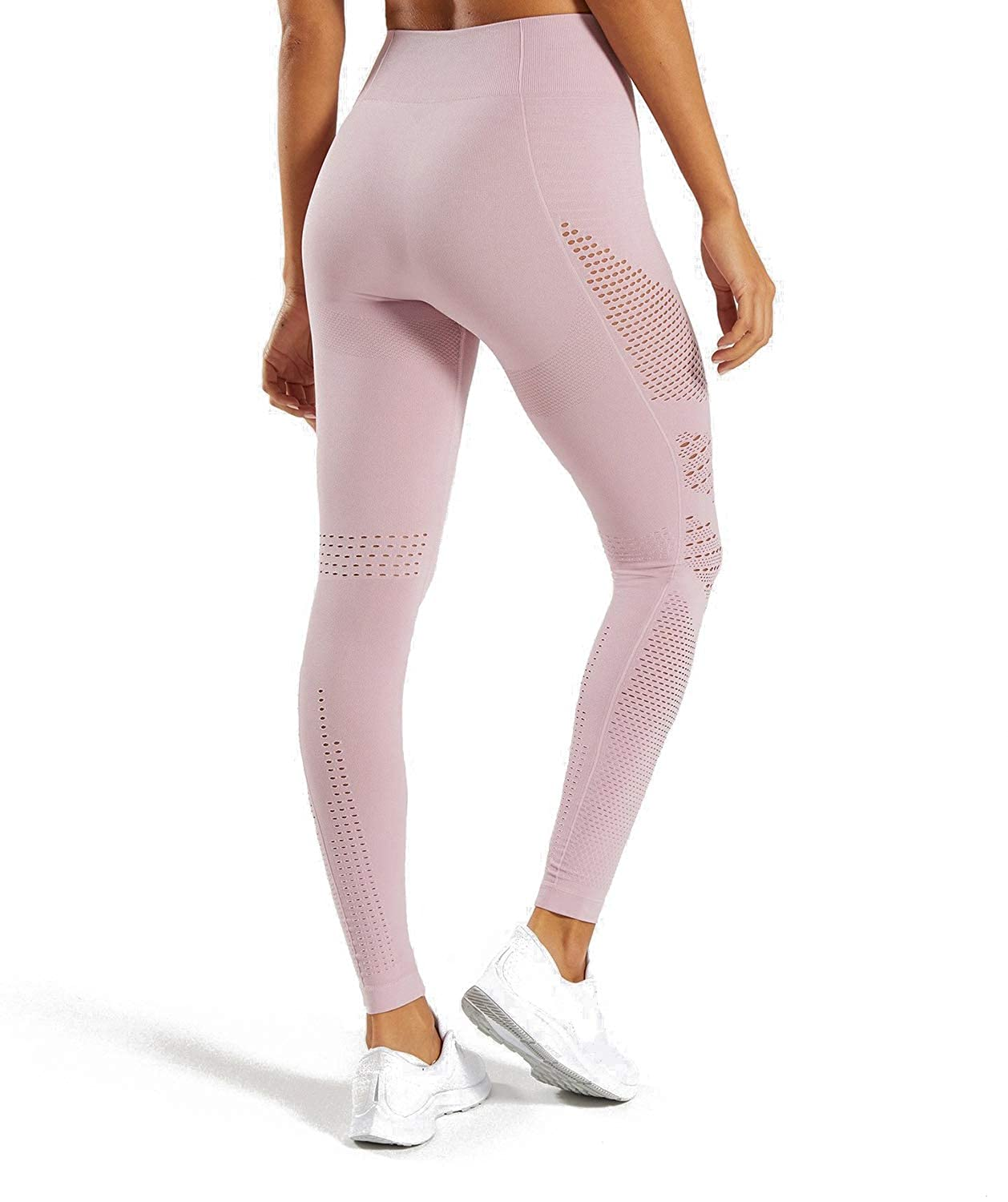 MOYOOGA Mesh Seamless Leggings for Women High Rise Yoga Pants Knit Tights for Workout Gym Athletic Fitness