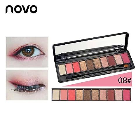 Novo 10 Colores Paletas de Sombras de Ojos Mate y Brillante Estuches de Sombras Ojos Tono de Ocaso Calabaza y Rosa