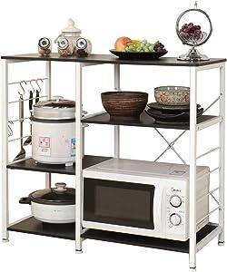 sogesfurniture 3-Tier/3-Tier Kitchen Baker's Rack Utility Storage Shelf Microwave Stand 35.4 inches Storage Cart Workstation Shelf,Black Brown BHUS-171-BK