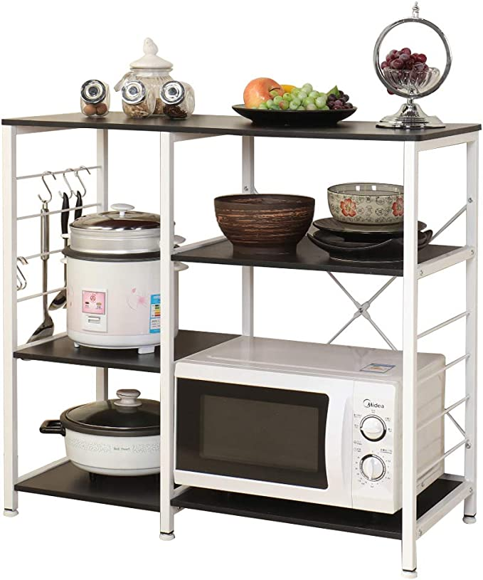 SogesPower Kitchen Bakers Rack 3-Tier with Different Height Microwave Stand Storage Rack, Black