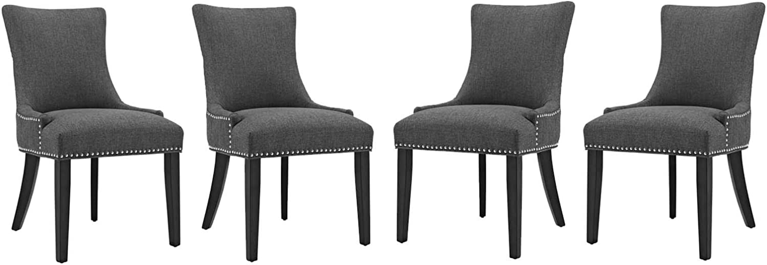 Modway Marquis Dining Chair Fabric Set of 4, Four, Gray