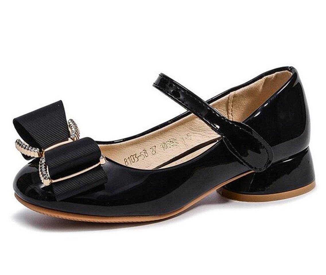 Bumud Kids Ballet Mary Jane Flats Girls Low Heels Wedding Party Princess Dress Shoes (12 M US Little Kid, Black)