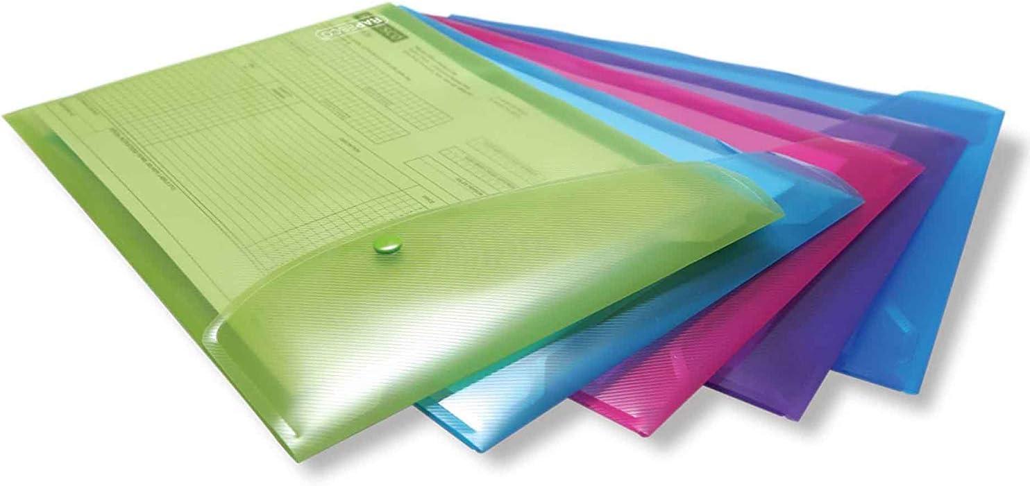 Rapesco documentos - Carpeta portafolios A4+ vertical, en varios colores traslúcidos, 5 unidades