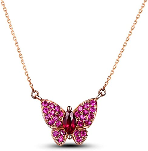 Antique Red Ruby Crystal Rhinestone Garden Butterfly Pendant Necklace