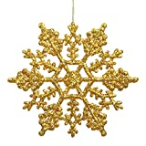 Vickerman 23547-4 Antique Gold Glitter Snowflake Christmas Tree Ornament (24 pack) (M101430)