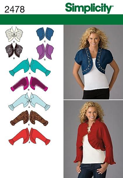 Amazon.com: Simplicity Pattern 2478 Misses Bolero Jackets with ...