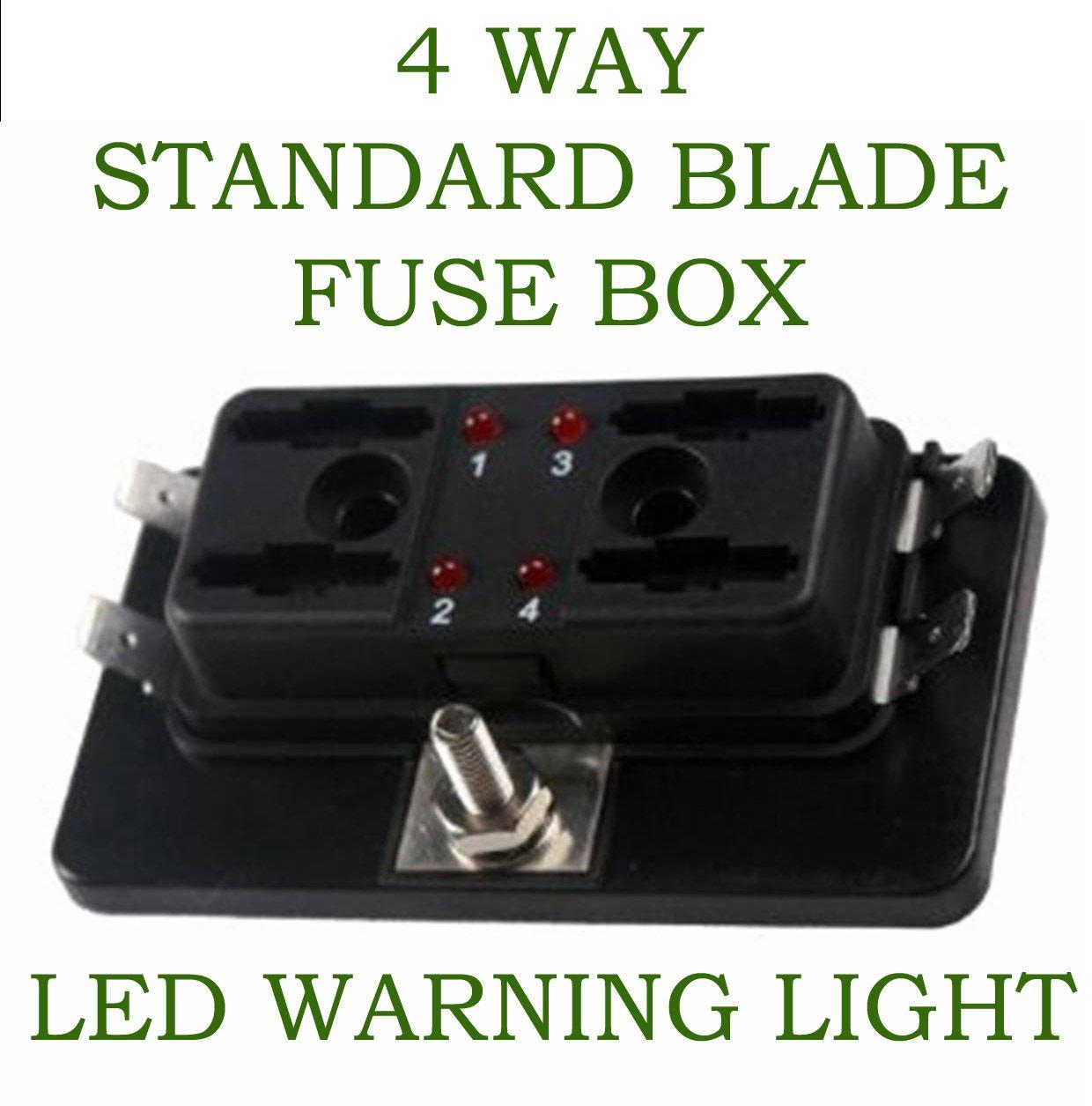 Amazon.com: Ronben 4 Way Blade Fuse Box 1 Positive Bus in LED WARNING APR  ATC ATO 12v Volt One Bar: Automotive
