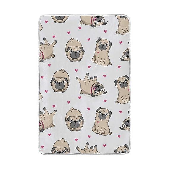 Amazon.com: Chen Miranda Pugs Blanket Super Soft Lightweight ...