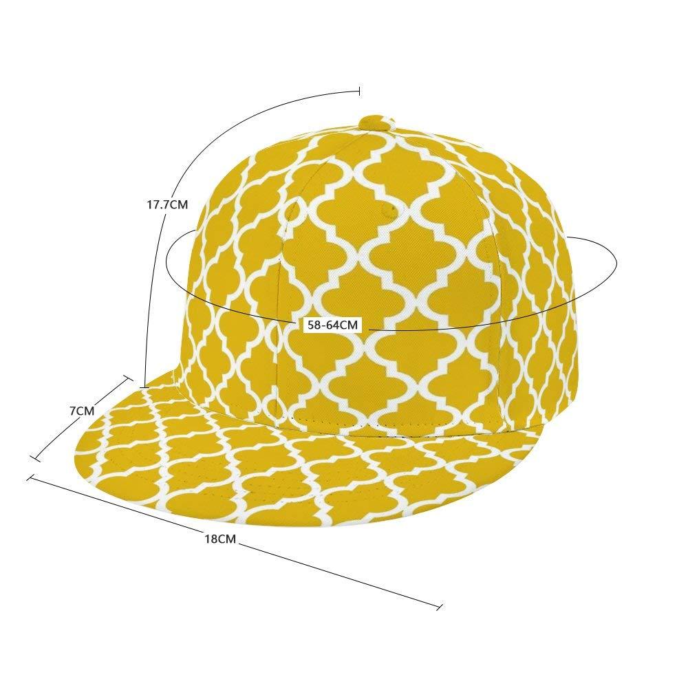 Dongi Mustard Yellow Moroccan Pattern Unisex Full-Print Flat Rubber Ball Cap can Adjust Hip-hop Style