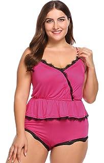 a511c3b39ac4 IN VOLAND Involand Women Plus Size Cotton Cami and Shorts Spaghetti Strap  Backless V-