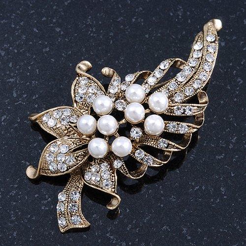 Broche florale cristal transparent, fausse perle blanche en métal doré brûlé
