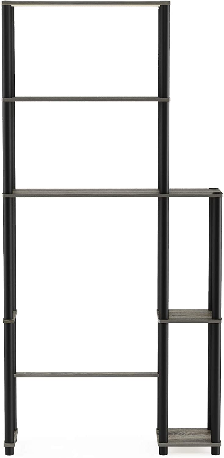 FurinnoTurn-N-Tube with 5 Shelves Toilet Space Saver, French Oak Grey/Black